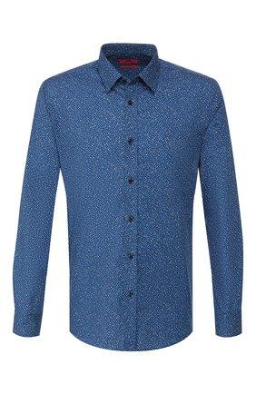 Мужская хлопковая рубашка HUGO темно-синего цвета, арт. 50409912 | Фото 1