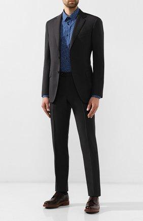 Мужская хлопковая рубашка HUGO темно-синего цвета, арт. 50409912 | Фото 2