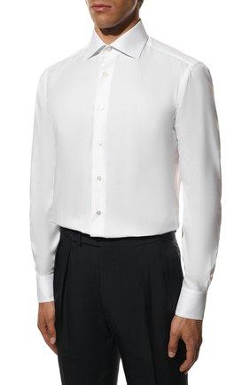Мужская хлопковая сорочка ZILLI белого цвета, арт. MFS-MERCU-12180/RZ01 | Фото 4