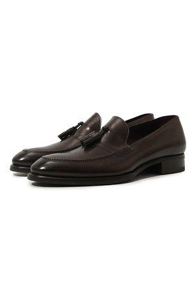 Мужские кожаные лоферы BRIONI темно-коричневого цвета, арт. QFDE0L/P6757 | Фото 1