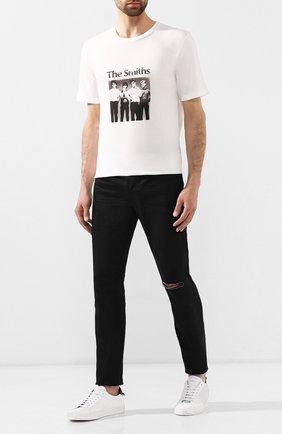 Мужская хлопковая футболка SAINT LAURENT белого цвета, арт. 588103/YBHI2 | Фото 2