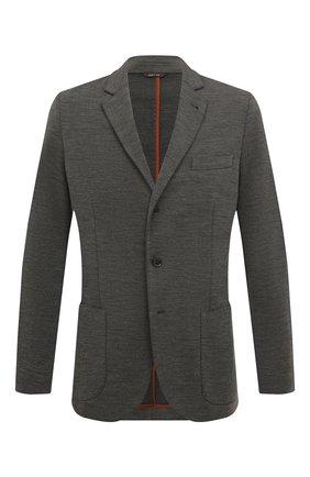 Мужской шерстяной пиджак LORO PIANA темно-серого цвета, арт. FAI7802   Фото 1