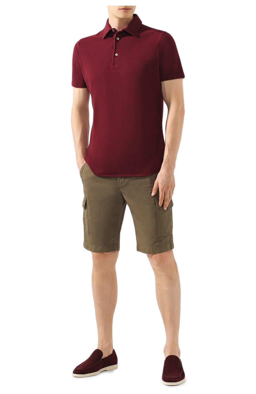 Мужское хлопковое поло LORO PIANA бордового цвета, арт. FAI1315 | Фото 2