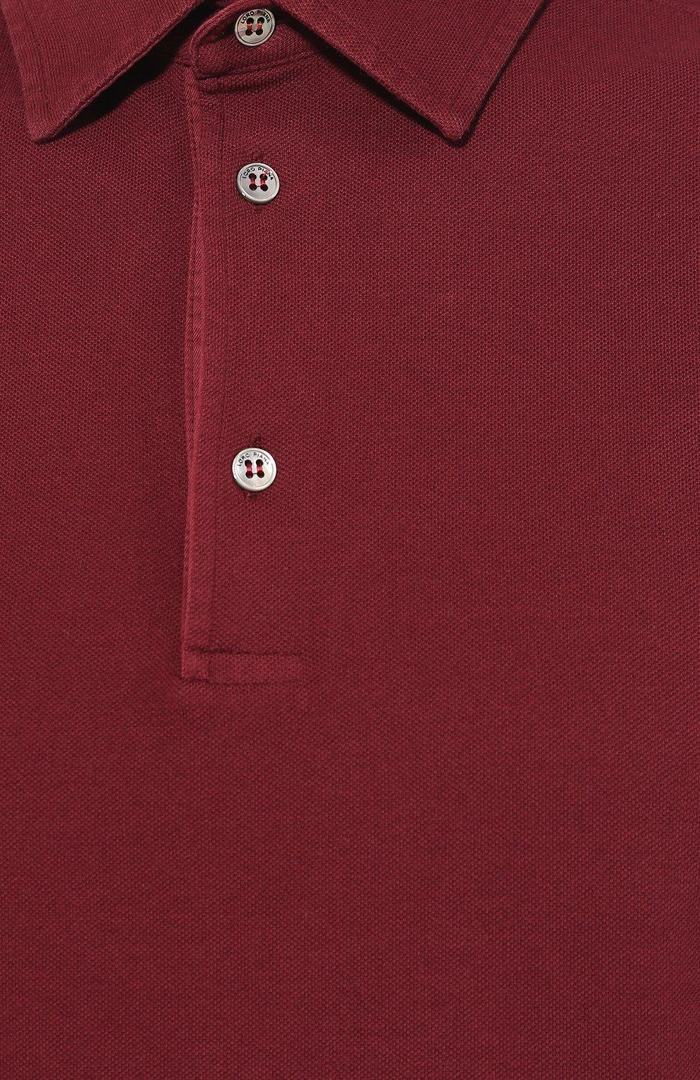 Мужское хлопковое поло LORO PIANA бордового цвета, арт. FAI1315 | Фото 5