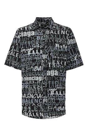 Мужская шелковая рубашка BALENCIAGA черно-белого цвета, арт. 556854/TELF2 | Фото 1