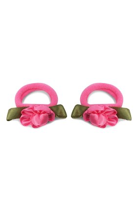 Детская комплект из 2-х резинок rosette small JUNEFEE розового цвета, арт. 5900 | Фото 1