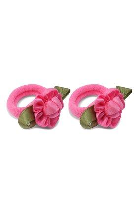 Детская комплект из 2-х резинок rosette small JUNEFEE розового цвета, арт. 5900 | Фото 2