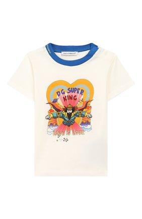 Детский хлопковая футболка DOLCE & GABBANA белого цвета, арт. L1JT7W/G7SPR | Фото 1
