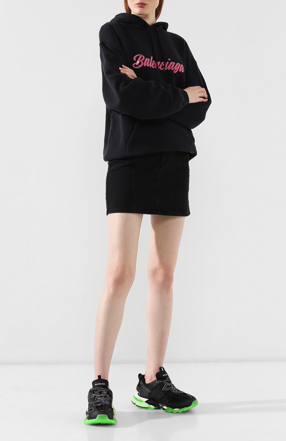 Женские текстильные кроссовки track BALENCIAGA черного цвета, арт. 570390/W1GB1   Фото 2