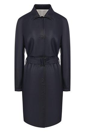 Женское кожаное пальто KITON темно-синего цвета, арт. DW0554V08R71 | Фото 1