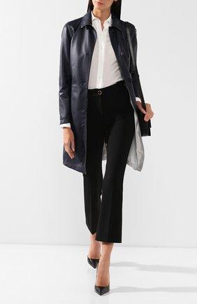 Женское кожаное пальто KITON темно-синего цвета, арт. DW0554V08R71 | Фото 2