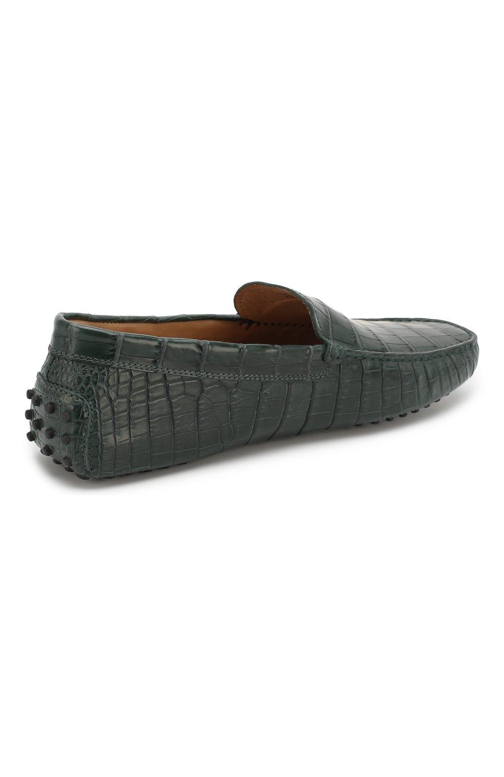 Мокасины New Gommini 122 из кожи крокодила Tod's темно-зеленые | Фото №4