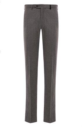 Мужские шерстяные брюки BRIONI серого цвета, арт. RPN20M/08A9V/GSTAAD   Фото 1 (Материал внешний: Шерсть; Длина (брюки, джинсы): Стандартные; Стили: Классический; Случай: Формальный; Статус проверки: Проверено, Проверена категория; Материал подклада: Купро)