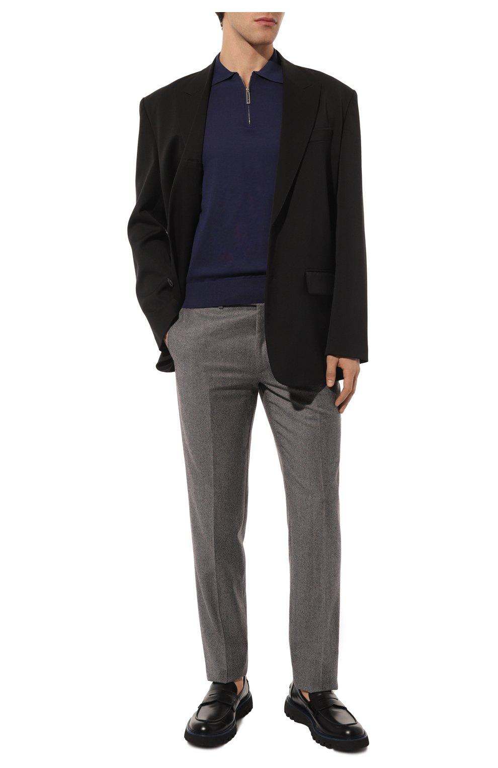 Мужские шерстяные брюки BRIONI серого цвета, арт. RPN20M/08A9V/GSTAAD   Фото 2 (Материал внешний: Шерсть; Длина (брюки, джинсы): Стандартные; Стили: Классический; Случай: Формальный; Статус проверки: Проверено, Проверена категория; Материал подклада: Купро)