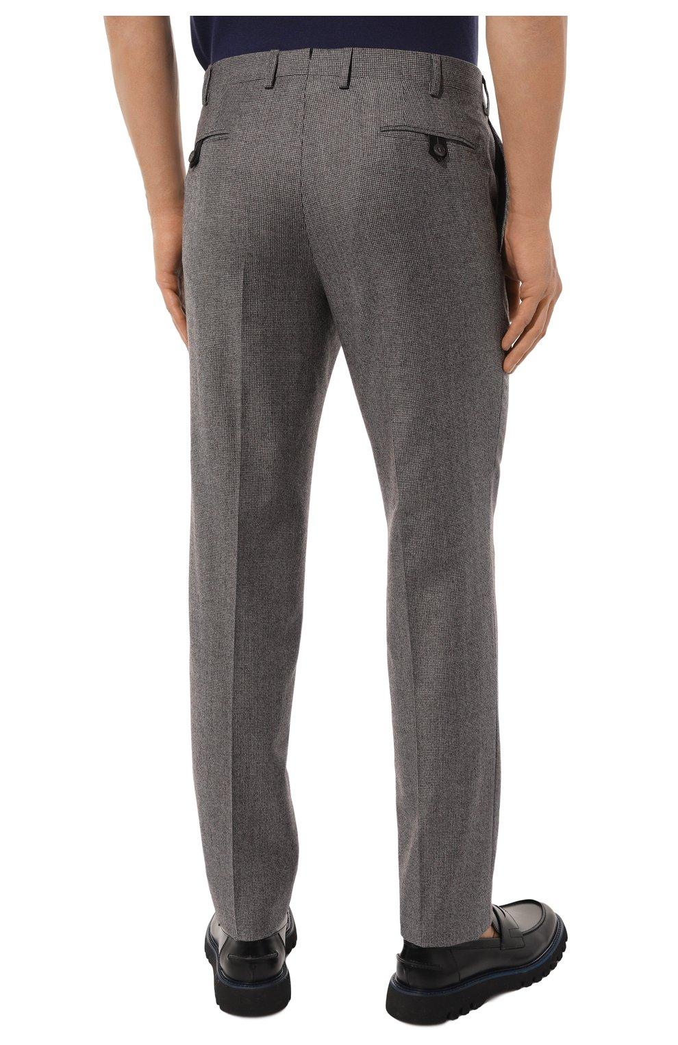 Мужские шерстяные брюки BRIONI серого цвета, арт. RPN20M/08A9V/GSTAAD   Фото 4 (Материал внешний: Шерсть; Длина (брюки, джинсы): Стандартные; Стили: Классический; Случай: Формальный; Статус проверки: Проверено, Проверена категория; Материал подклада: Купро)