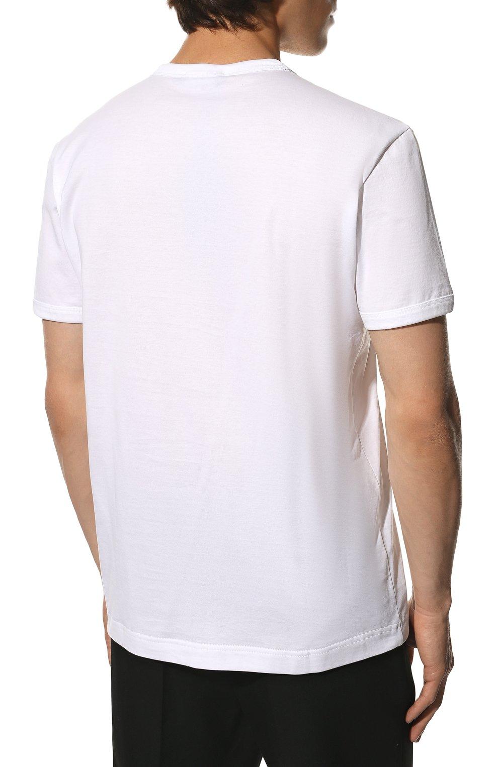 Мужская хлопковая футболка DOLCE & GABBANA белого цвета, арт. G8JX7T/FU7EQ | Фото 4