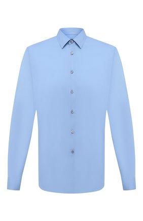 Мужская хлопковая рубашка PRADA голубого цвета, арт. UCN122-F62-F0076   Фото 1 (Рукава: Длинные; Материал внешний: Хлопок; Статус проверки: Проверено; Длина (для топов): Стандартные; Случай: Повседневный; Воротник: Кент)