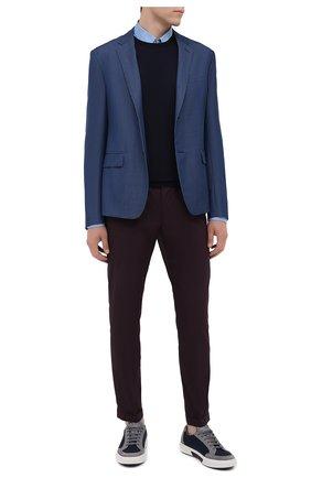 Мужская хлопковая рубашка PRADA голубого цвета, арт. UCN122-F62-F0076   Фото 2 (Рукава: Длинные; Материал внешний: Хлопок; Статус проверки: Проверено; Длина (для топов): Стандартные; Случай: Повседневный; Воротник: Кент)