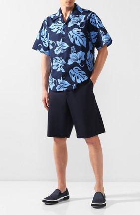 Мужские хлопковые шорты PRADA синего цвета, арт. UP0053-1P4T-F0124 | Фото 2