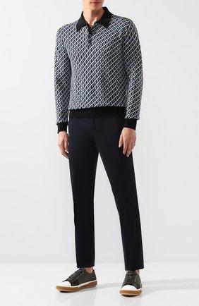 Мужские брюки PRADA синего цвета, арт. SPE12-1KJW-F0124   Фото 2