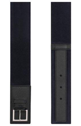 Женский кожаный ремень LORO PIANA темно-синего цвета, арт. FAI7022   Фото 2 (Статус проверки: Проверено)