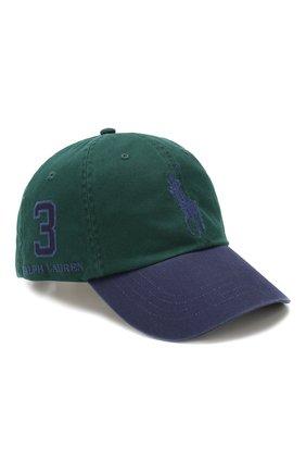 Мужской хлопковая бейсболка  POLO RALPH LAUREN зеленого цвета, арт. 710673584 | Фото 1