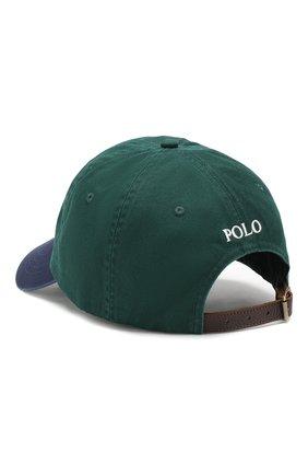 Мужской хлопковая бейсболка  POLO RALPH LAUREN зеленого цвета, арт. 710673584 | Фото 2