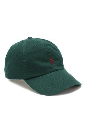 Мужской хлопковая бейсболка POLO RALPH LAUREN зеленого цвета, арт. 710667709 | Фото 1