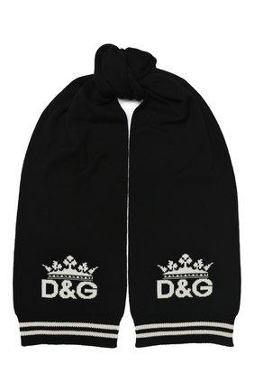 Мужской кашемировый шарф DOLCE & GABBANA черного цвета, арт. GX690T/JAW0J | Фото 1