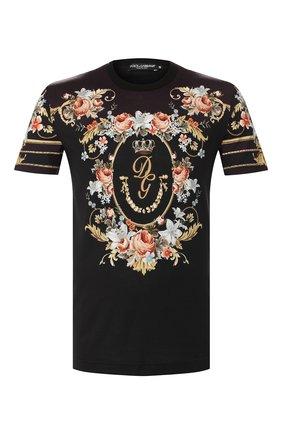 Мужская хлопковая футболка DOLCE & GABBANA черного цвета, арт. G8KBAT/HH71N | Фото 1