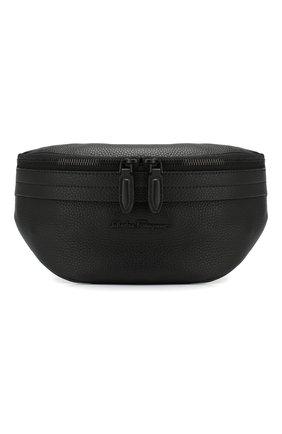 Мужская поясная сумка SALVATORE FERRAGAMO черного цвета, арт. Z-0706223   Фото 1 (Материал: Натуральная кожа; Статус проверки: Проверена категория)