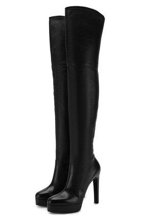 Женские кожаные ботфорты CASADEI черного цвета, арт. 1T671L1201T00539000 | Фото 1