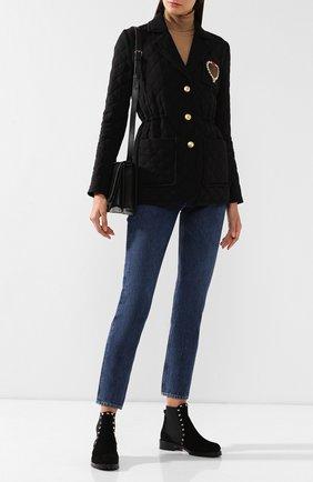 Женские замшевые челси valentino garavani rockstud VALENTINO черного цвета, арт. SW2S0D47/ENQ | Фото 2