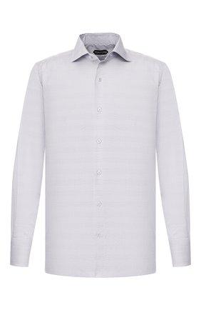 Мужская хлопковая сорочка TOM FORD светло-серого цвета, арт. 6FT786/94S3AX | Фото 1