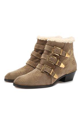 Женские замшевые ботинки susanna CHLOÉ хаки цвета, арт. CHC18W13438 | Фото 1