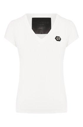 Женская хлопковая футболка PHILIPP PLEIN белого цвета, арт. WTK1473 | Фото 1