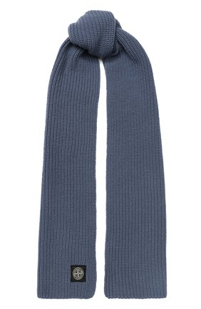 Мужской шерстяной шарф STONE ISLAND синего цвета, арт. 7115N15B5 | Фото 1