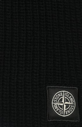 Мужской шерстяной шарф STONE ISLAND черного цвета, арт. 7115N15B5 | Фото 2