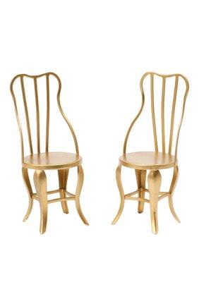 Детского комплект из 2-х игрушечных стульев микро MAILEG золотого цвета, арт. 11-8103-00 | Фото 1