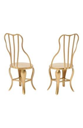 Детского комплект из 2-х игрушечных стульев микро MAILEG золотого цвета, арт. 11-8103-00 | Фото 2