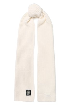 Мужской шерстяной шарф STONE ISLAND белого цвета, арт. 7115N15B5 | Фото 1