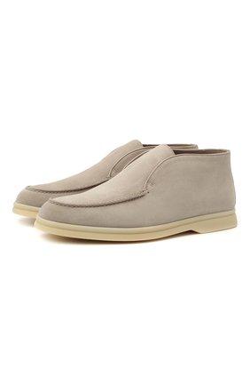 Женские замшевые ботинки open walk LORO PIANA серого цвета, арт. FAE9959 | Фото 1