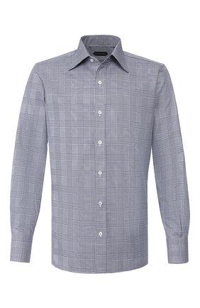 Мужская хлопковая сорочка TOM FORD темно-синего цвета, арт. 6FT728/94S1JE | Фото 1