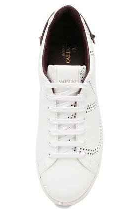 Кожаные кеды Valentino Garavani Backnet Valentino белые | Фото №5