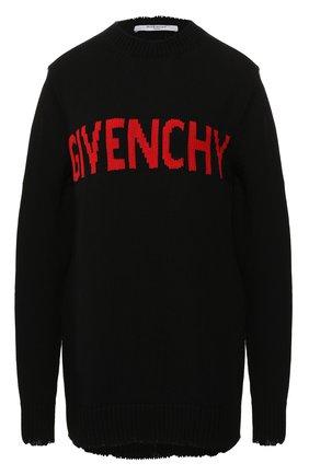 Хлопковый пуловер Givenchy черный | Фото №1