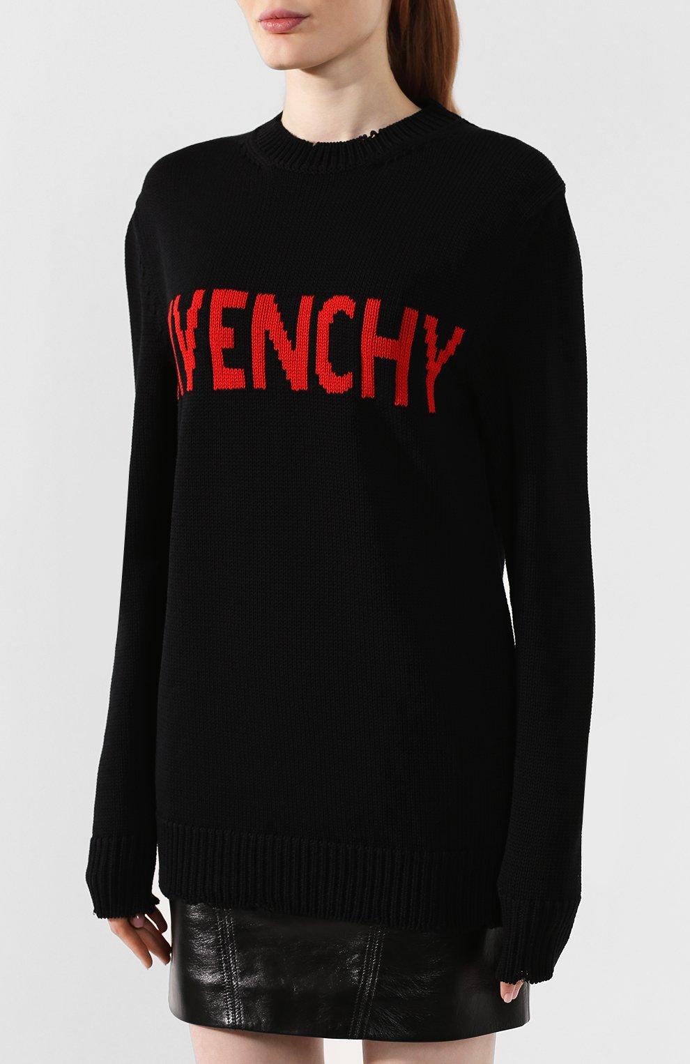 Хлопковый пуловер Givenchy черный | Фото №3