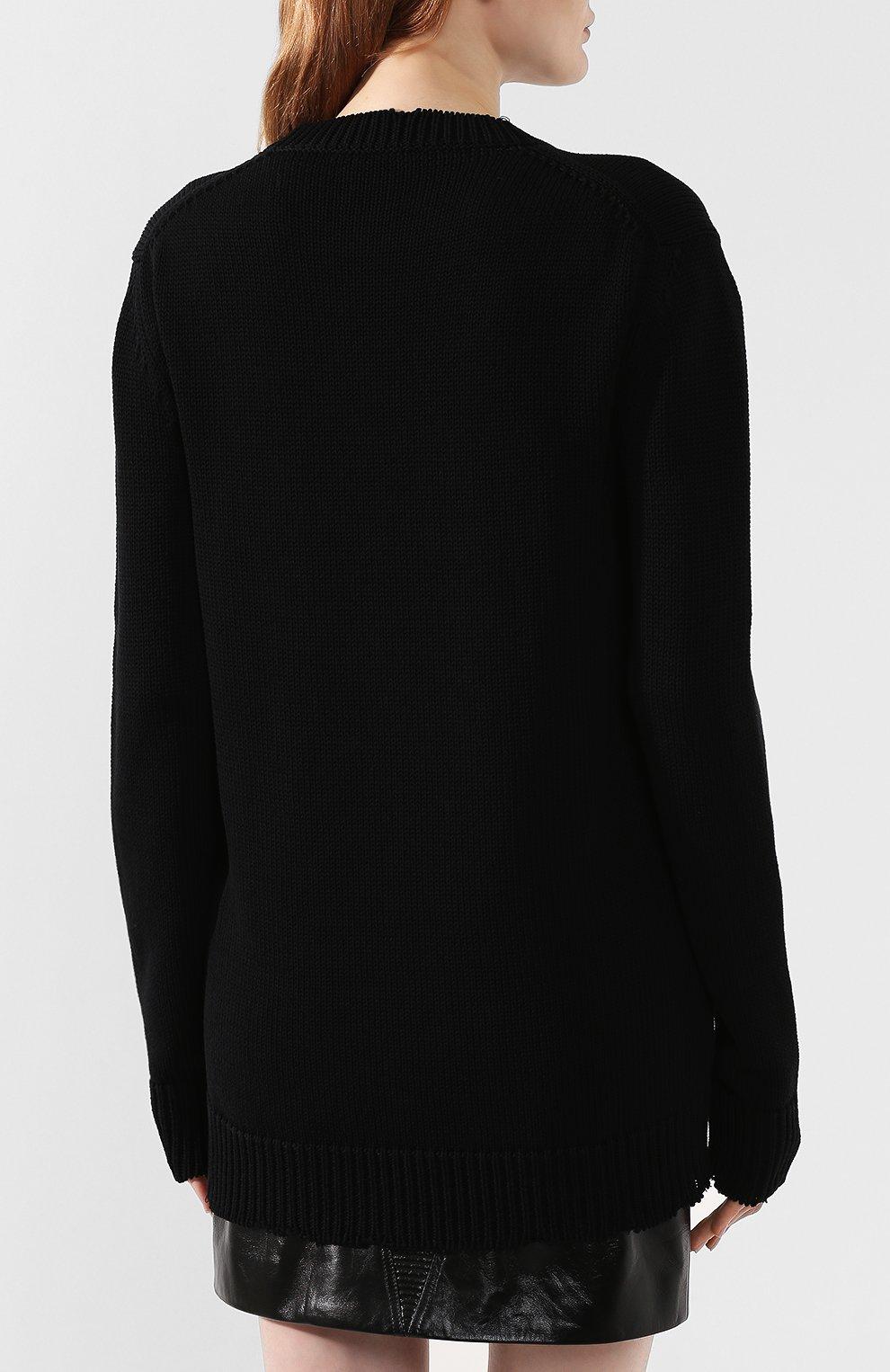 Хлопковый пуловер Givenchy черный | Фото №4