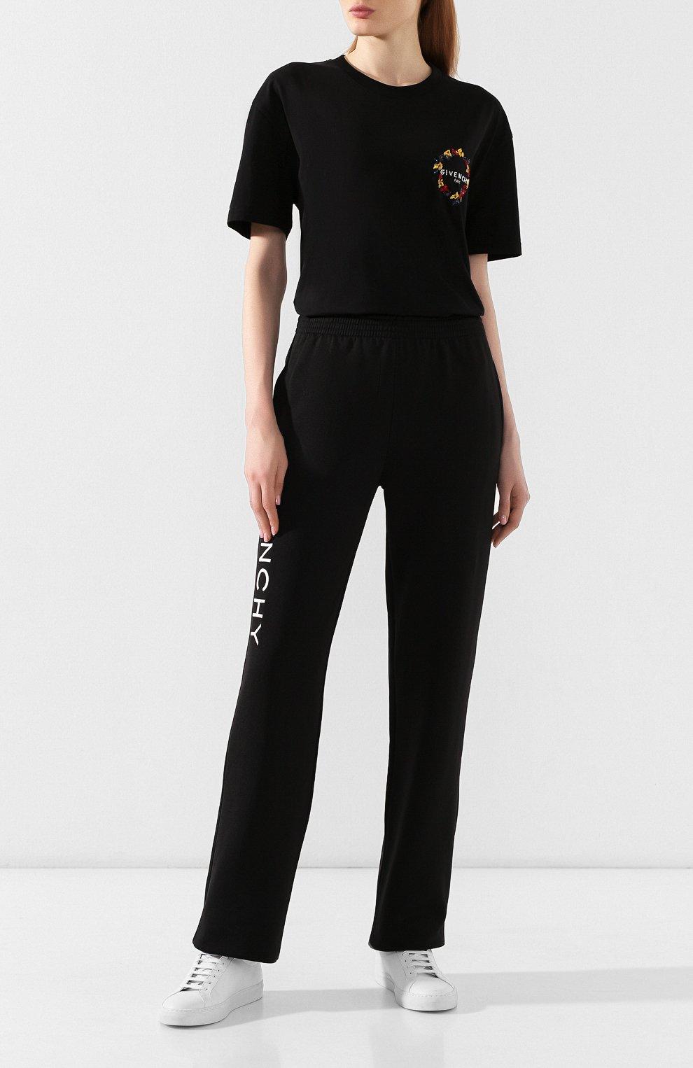 Женская хлопковая футболка GIVENCHY черного цвета, арт. BW70603Z2F | Фото 2