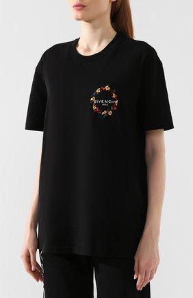 Женская хлопковая футболка GIVENCHY черного цвета, арт. BW70603Z2F | Фото 3