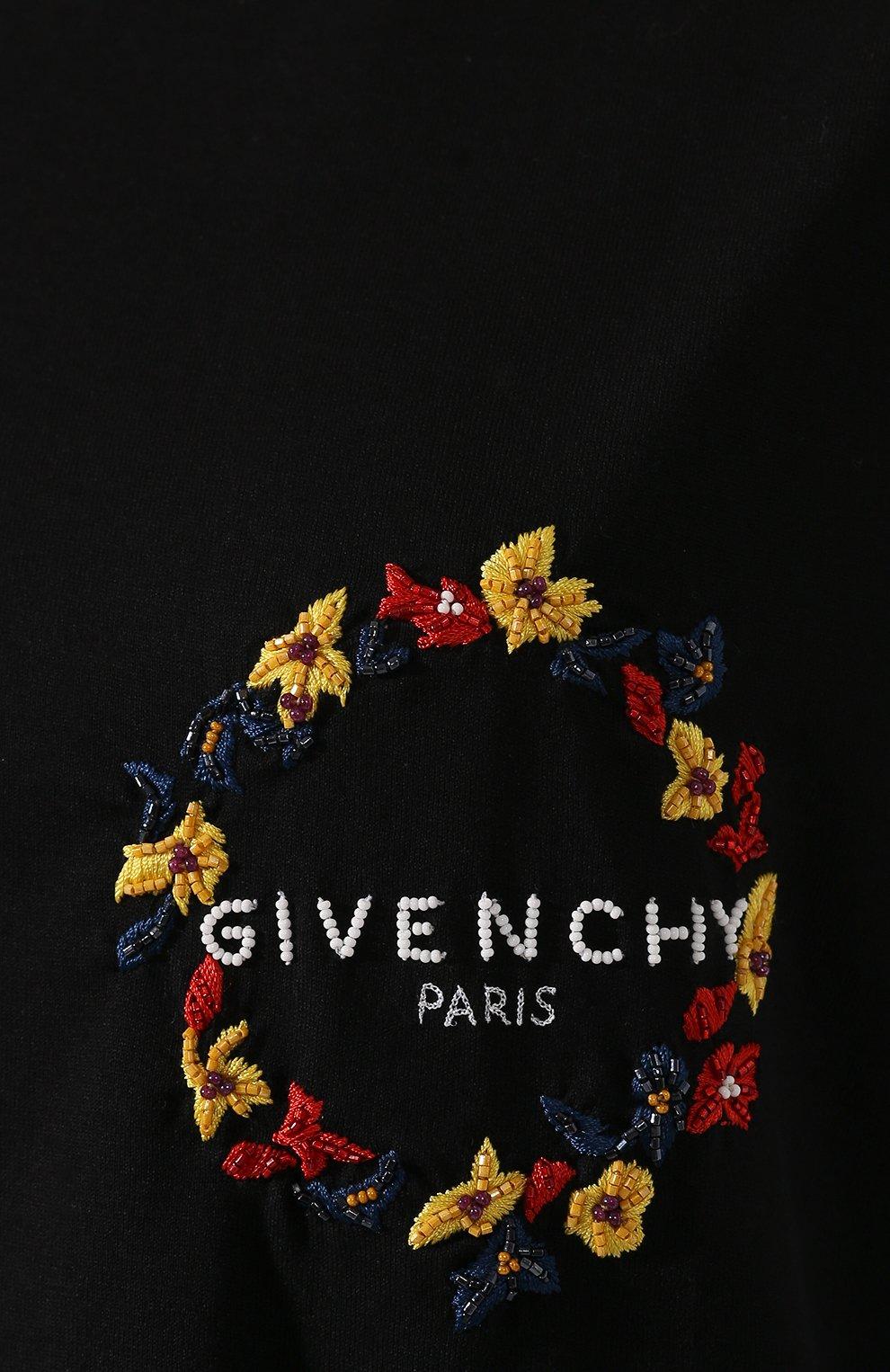 Женская хлопковая футболка GIVENCHY черного цвета, арт. BW70603Z2F | Фото 5